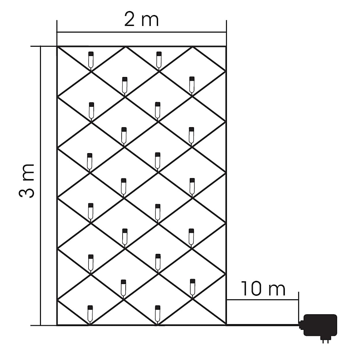 LED-valoverkko 2 x 3 m, Northlight