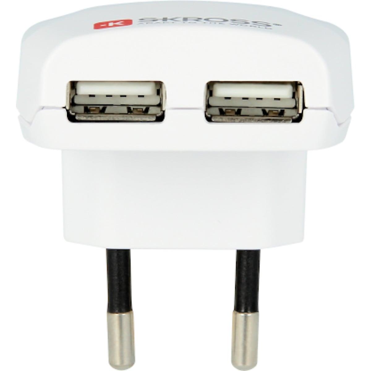 USB-laturi, jossa on kaksi liitäntää, SKROSS.