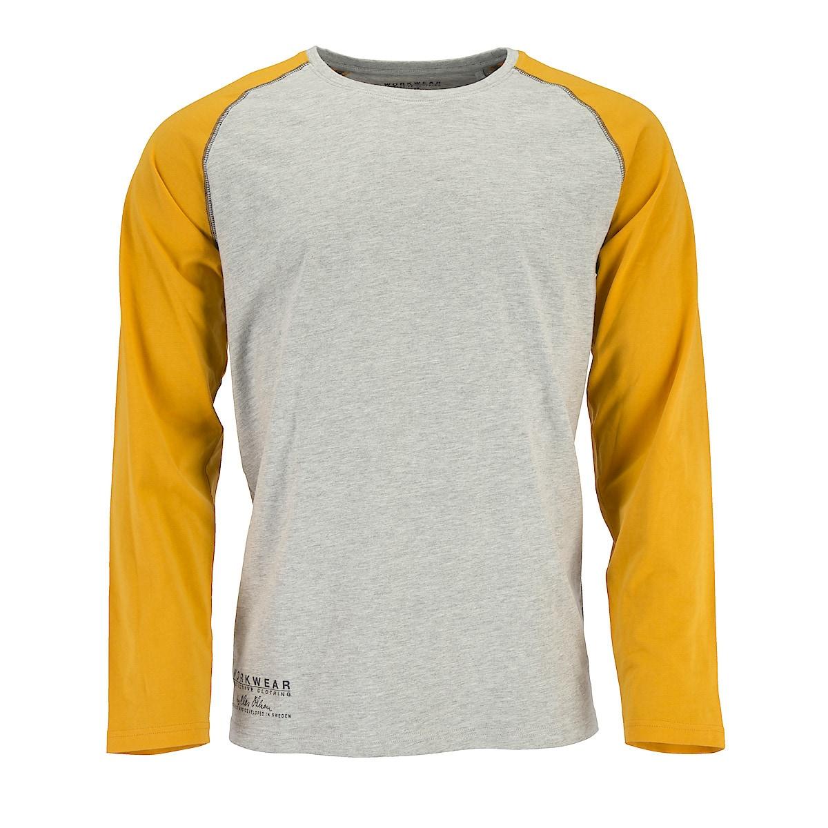 Långärmad t-shirt grå/ockra