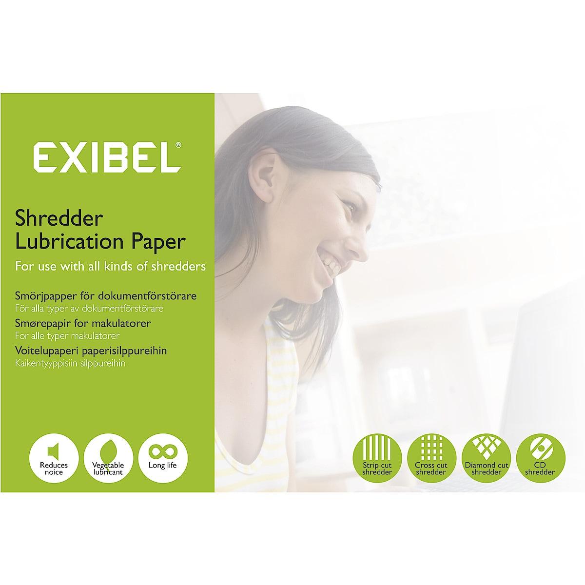 Smörjpapper för dokumentförstörare Exibel