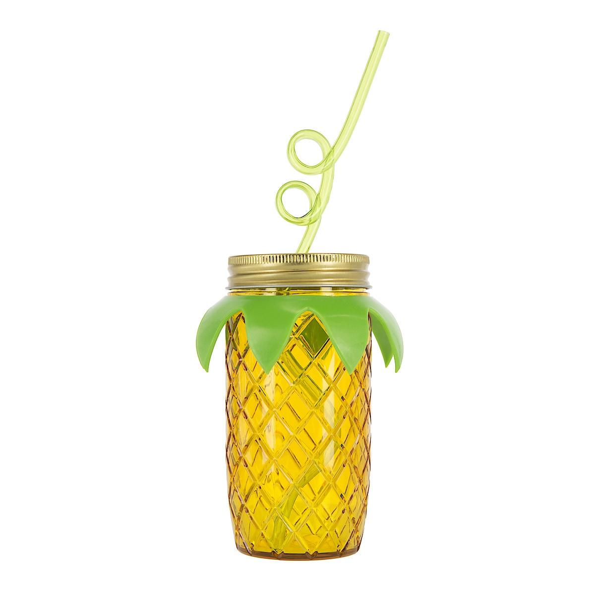 Plastmugg med lock och sugrör, Ananas