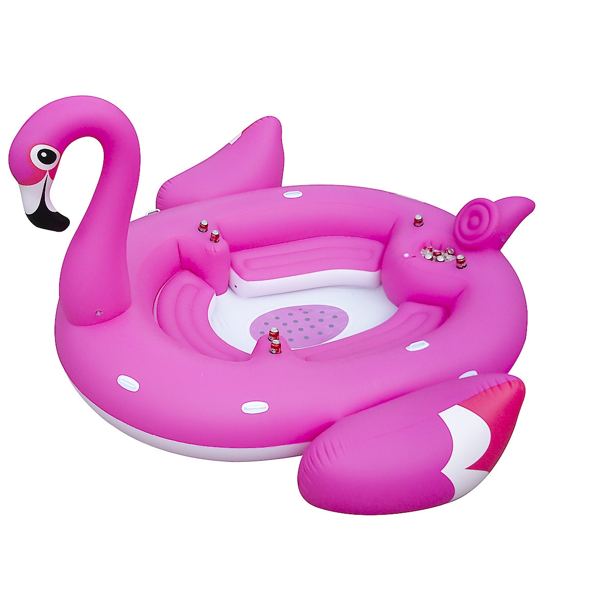 Mega Flamingo, oppblåsbar flåte, 3,7 x 3,7 meter