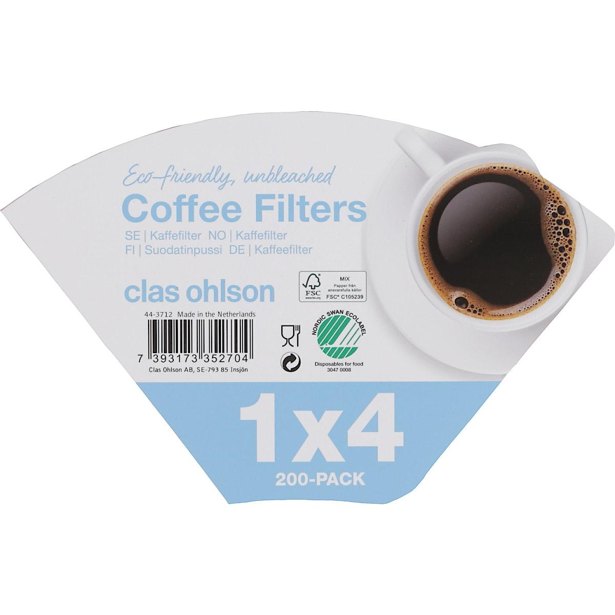 Kaffefilter 1x4, 200-pack