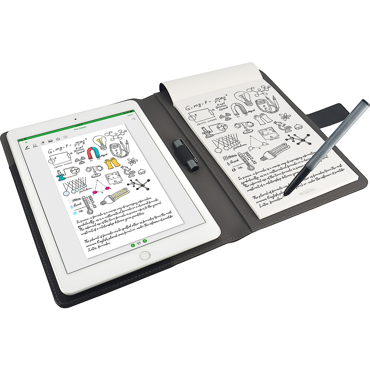 Modena Digital Folio Essential, Notebook and Pen, Black