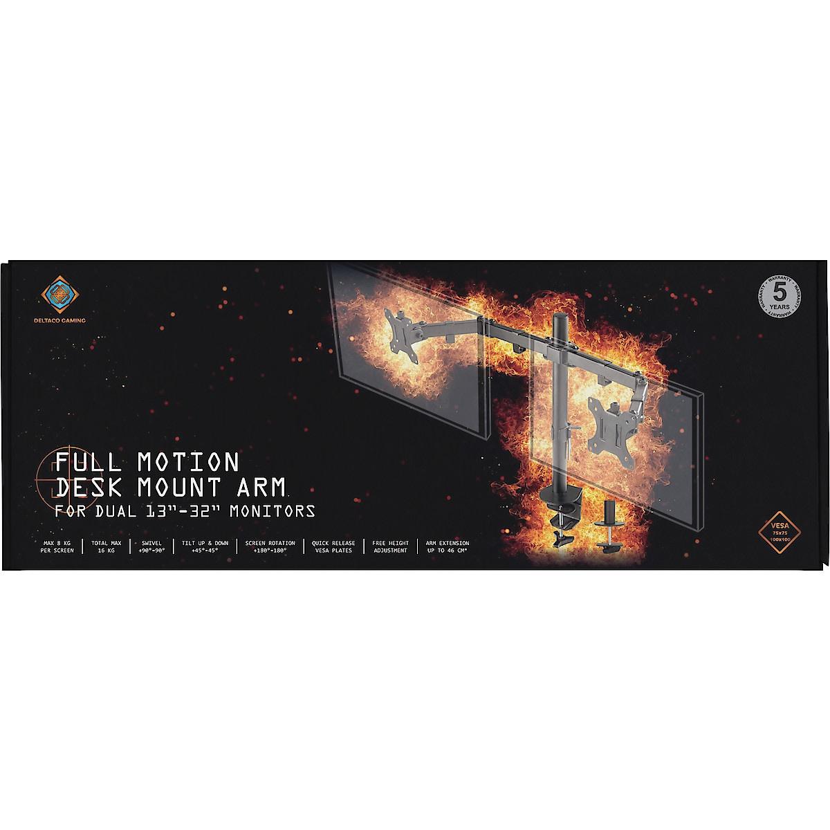Deltaco Gaming GAM-040 dobbelt skjermfeste