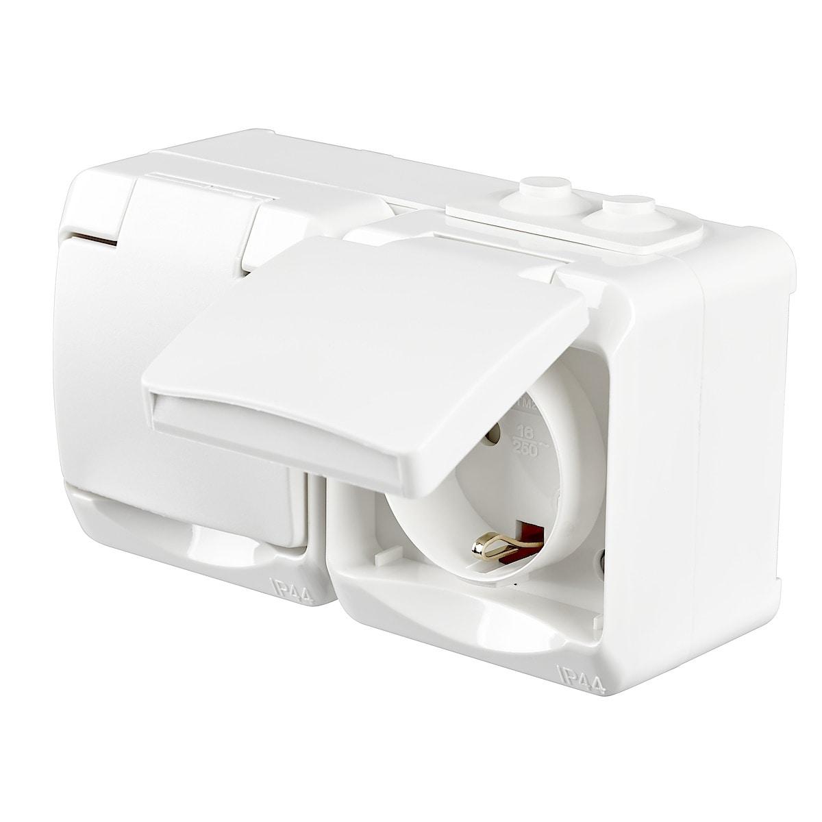 2-osainen pinta-asennettava pistorasia IP44