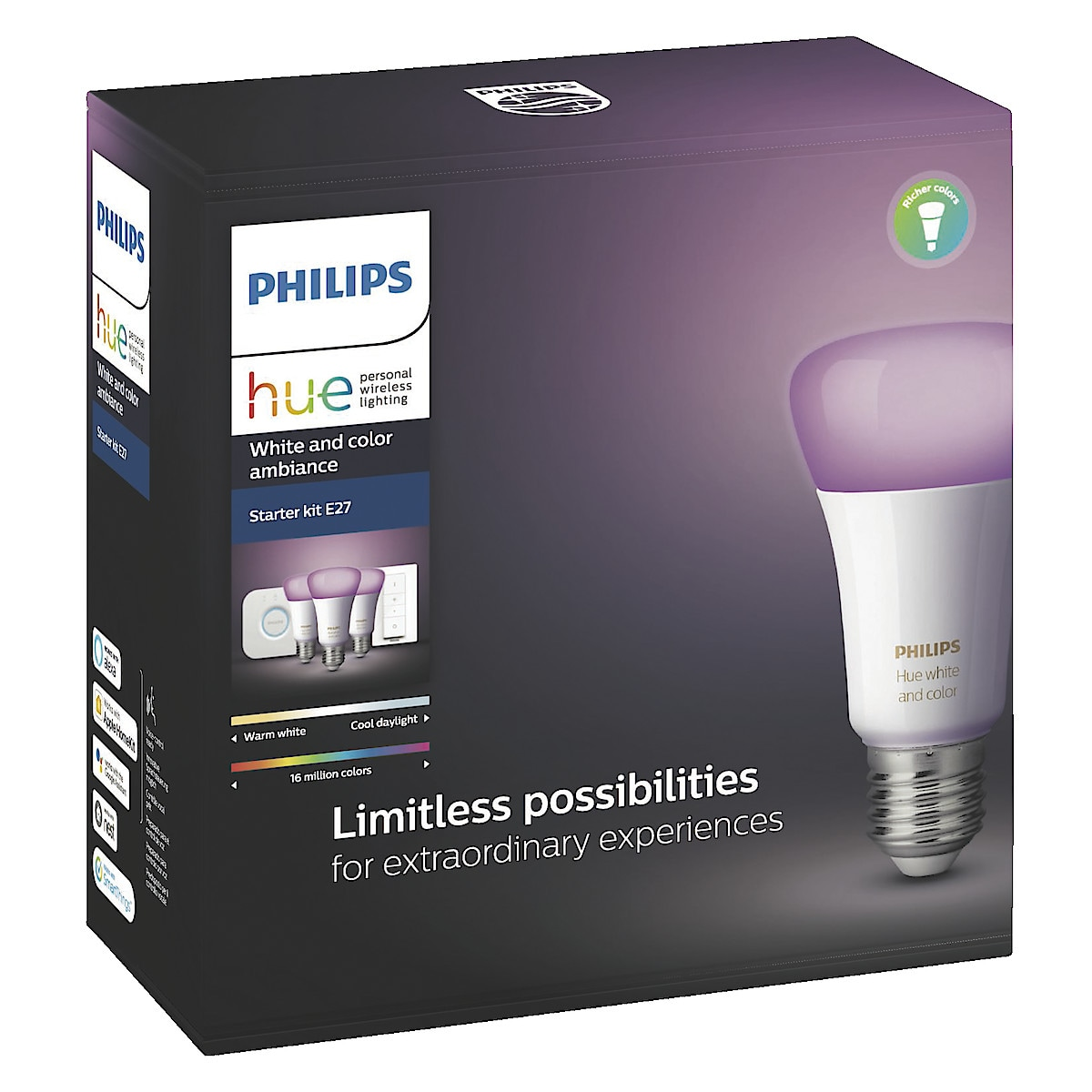 Philips Hue White and Color Ambiance Startpaket E27, Bluetooth