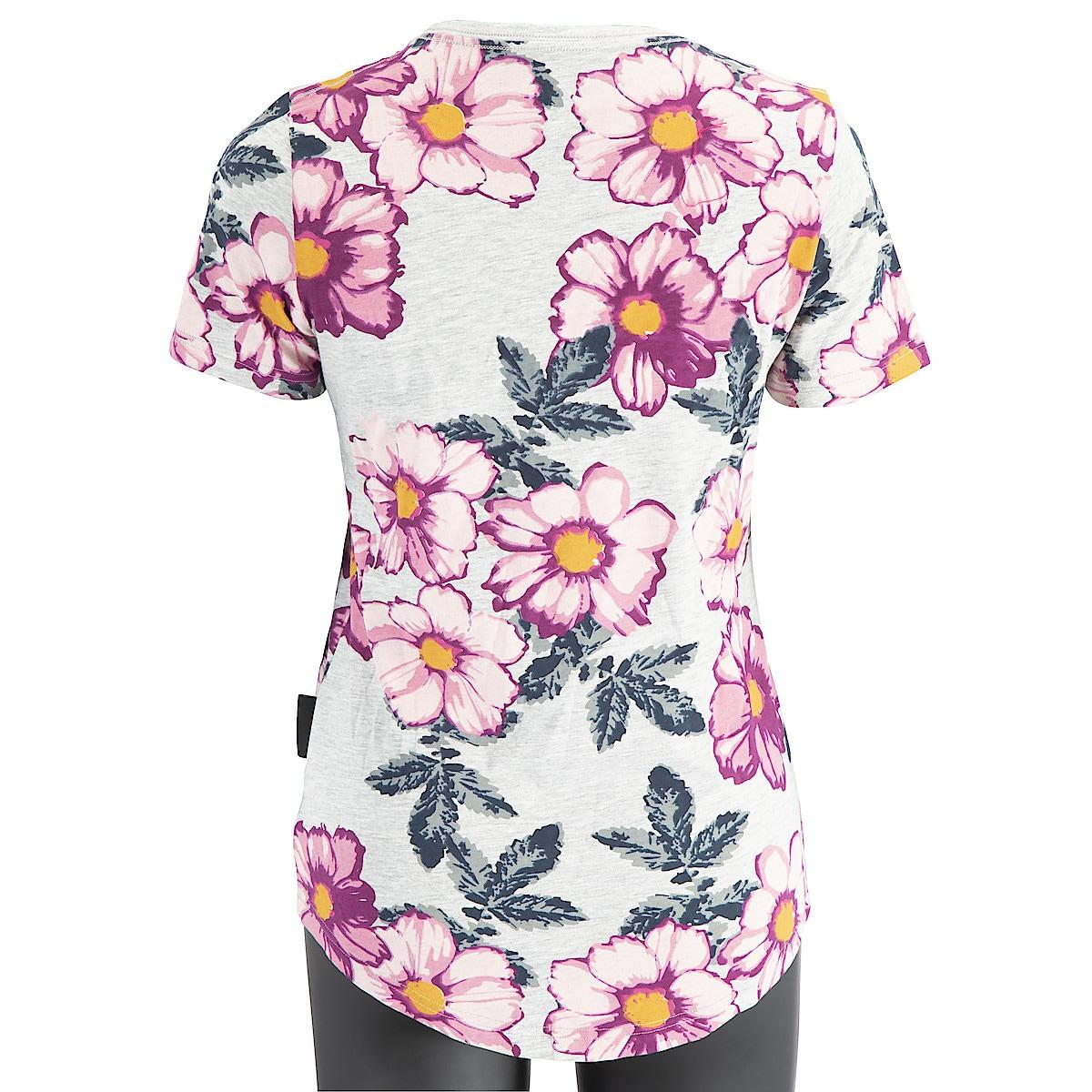 Naisten t-paita, harmaa jossa kukkakuvio