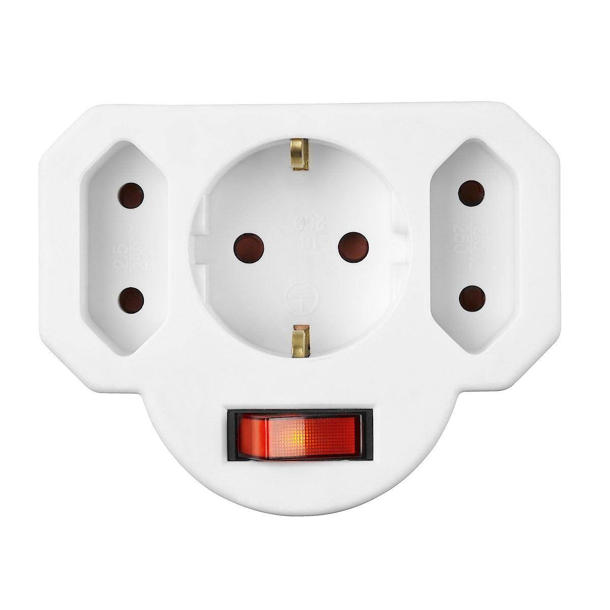 3-vägs förgreningskontakt med strömbrytare