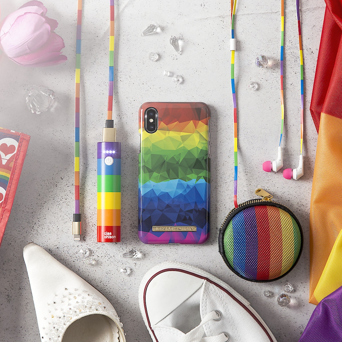 Rainbow Earphones Case with Mirror