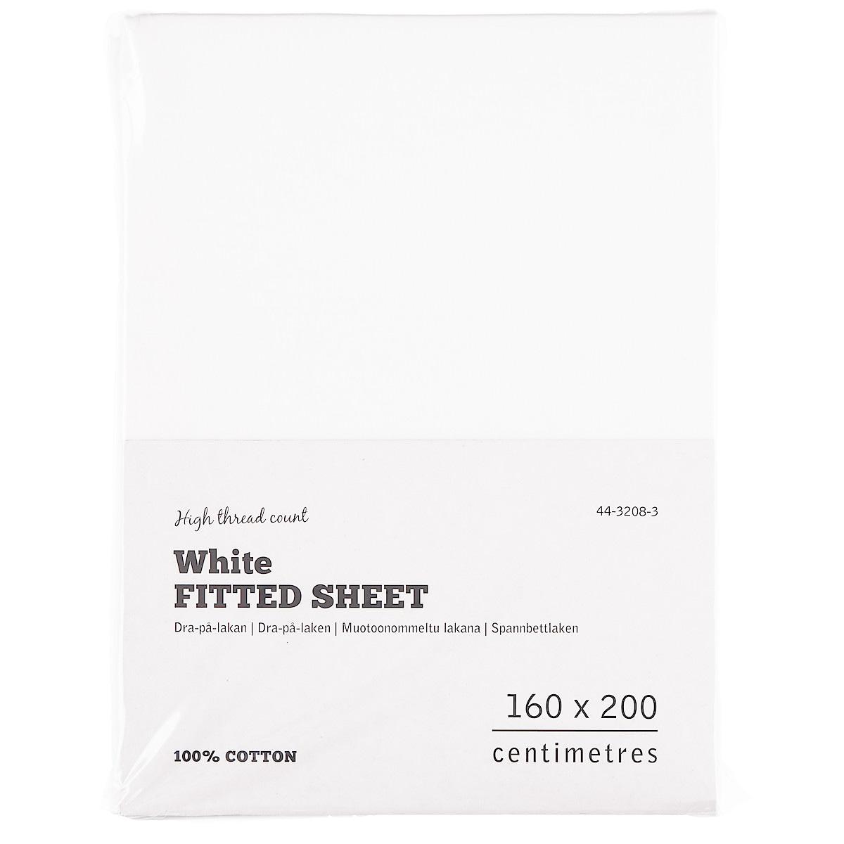Dra-på-lakan 160 cm, vit