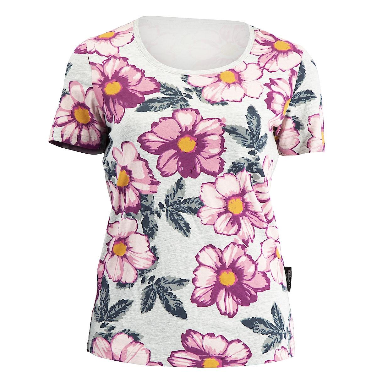 T-skjorte, dame, grå med blomstermønster