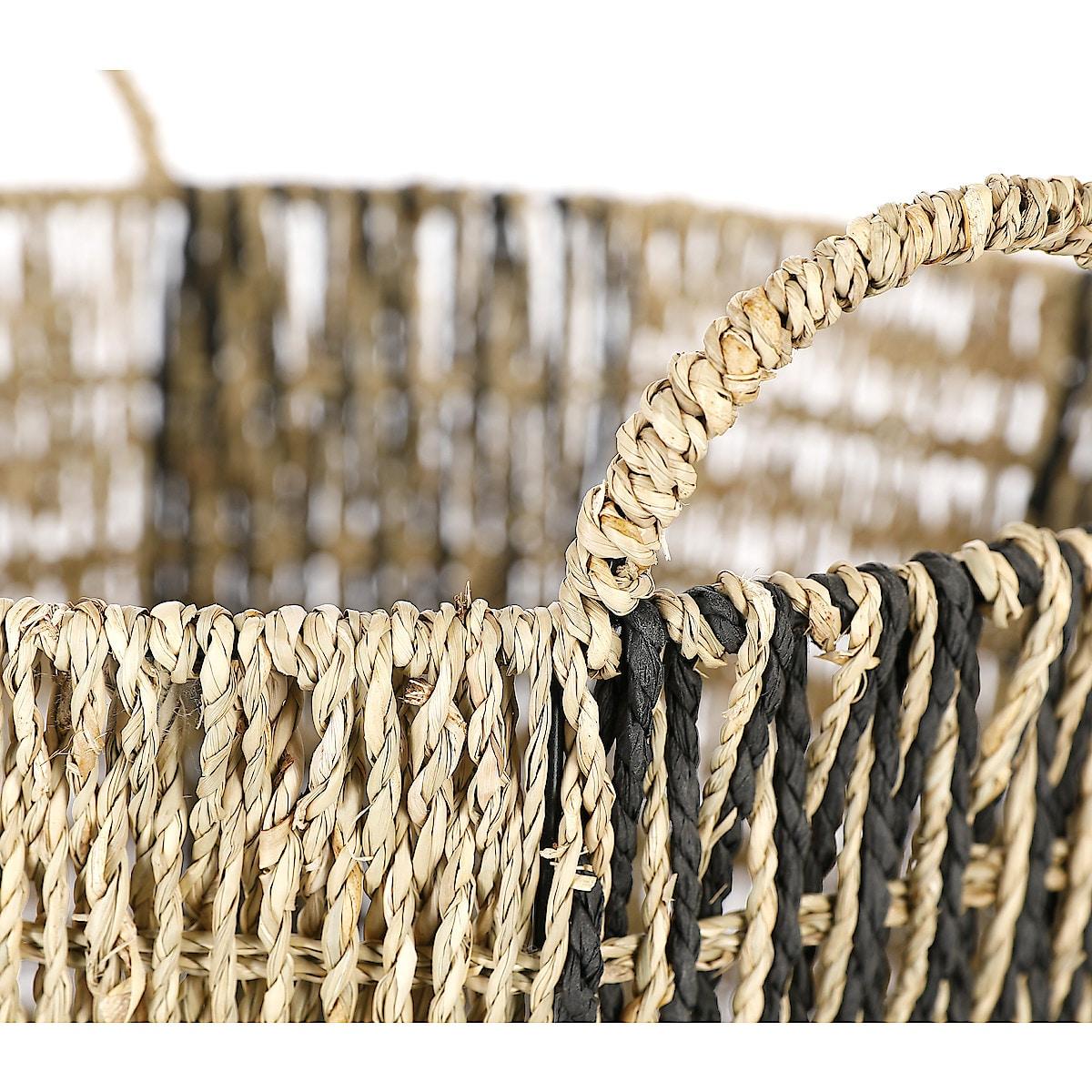 Säilytyskori kahvoilla nature/musta, 35 cm