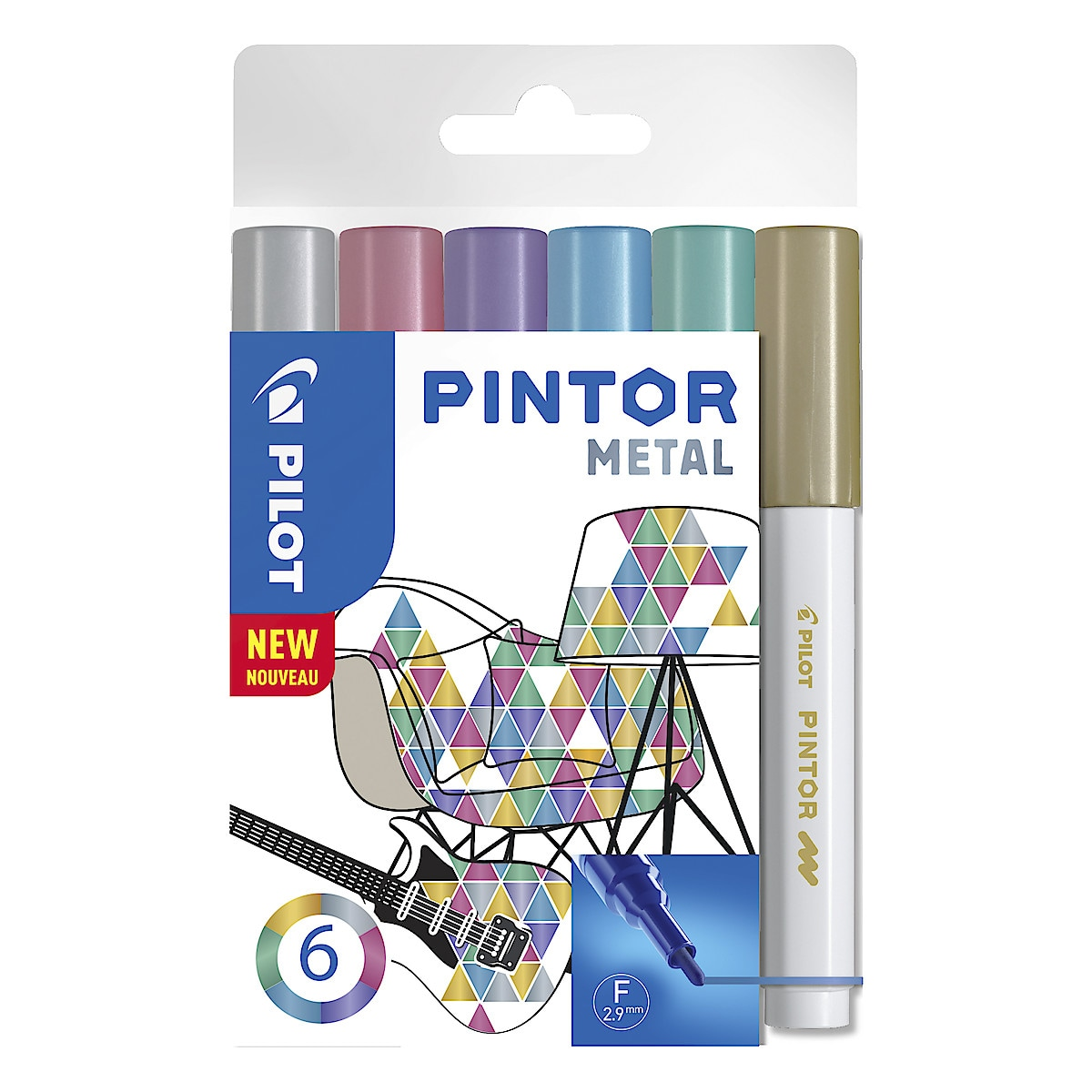 Set of 6 Pilot Pintor Marker Pens – Metallic