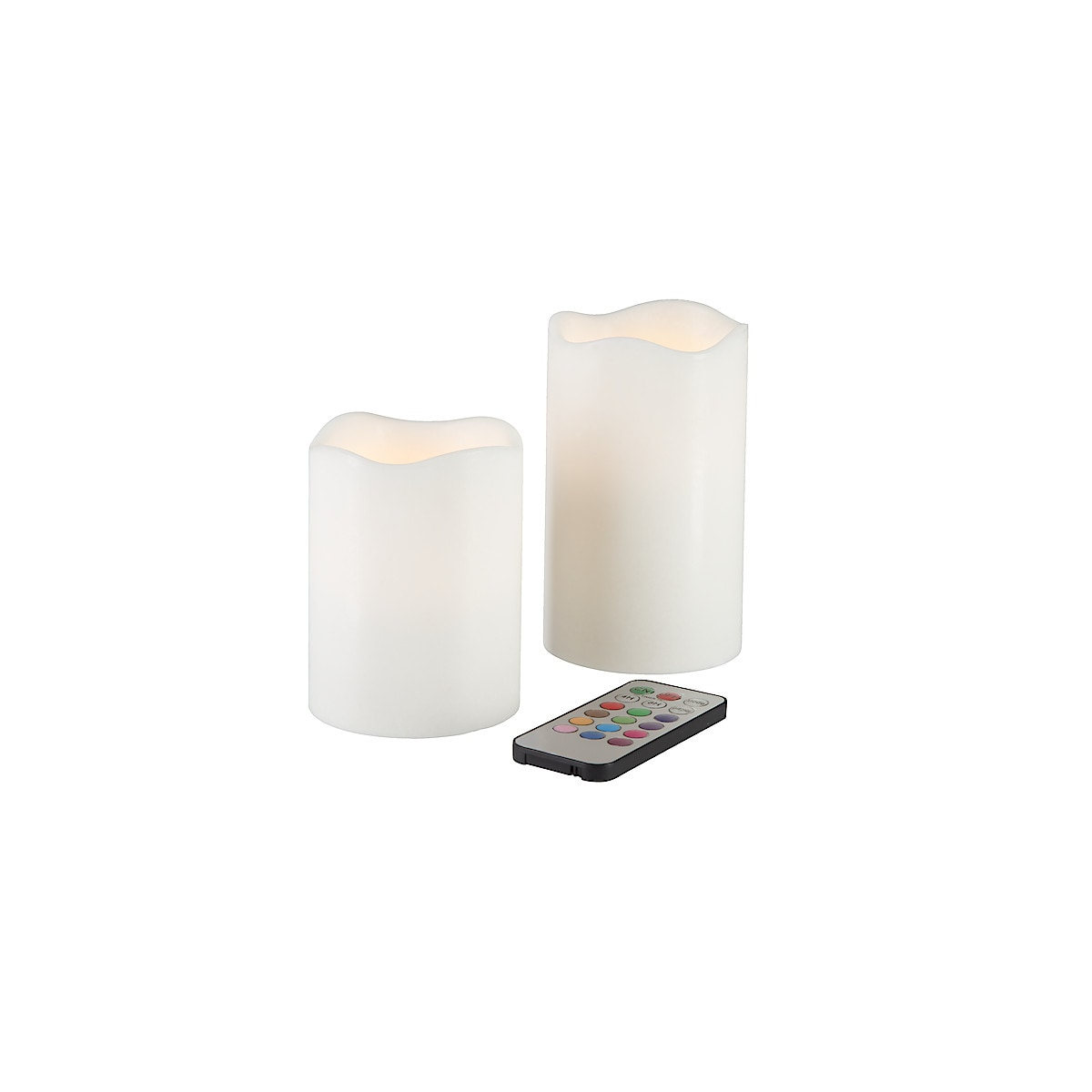 Set of 2 LED Colour Pillar Candles