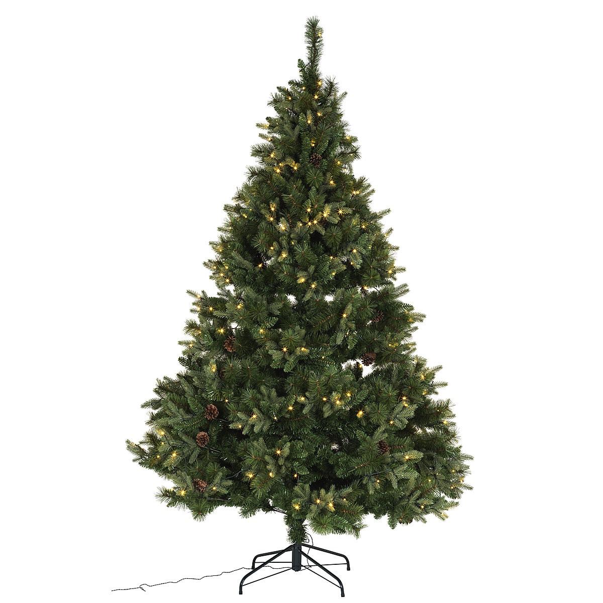 Juletre med kongler og innebygd belysning, 230 cm