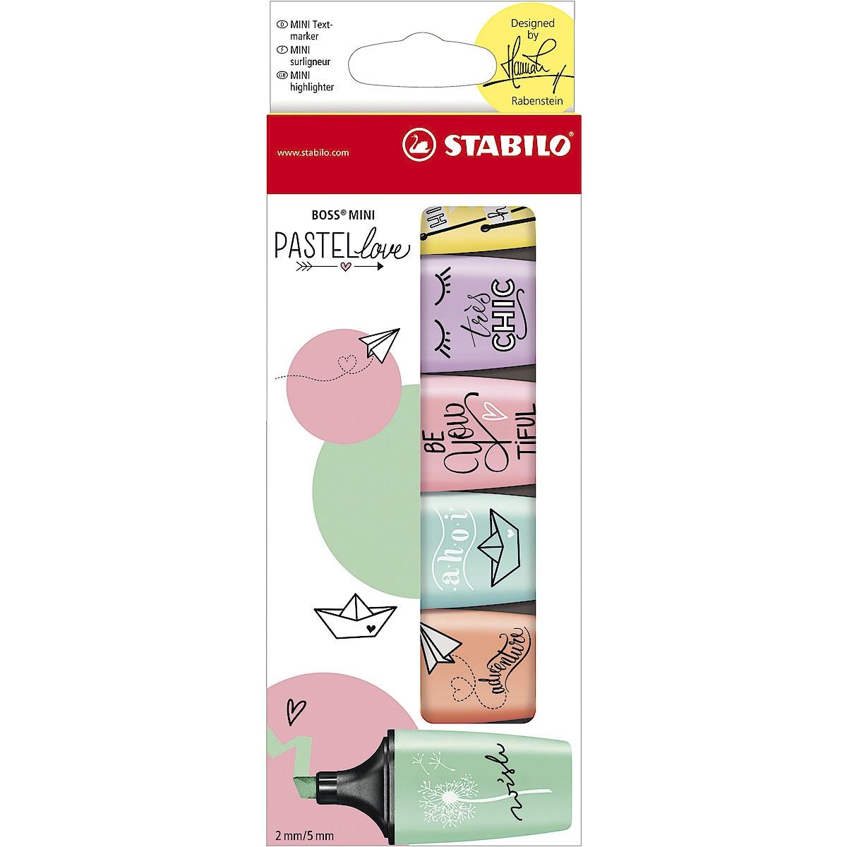 Överstrykningspennor Stabilo BOSS Mini pastell, 6-pack
