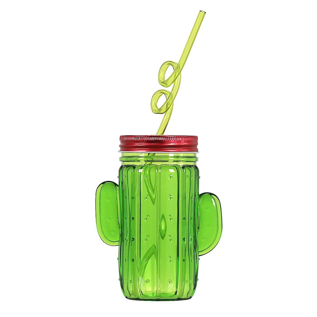 Plastmugg med lock och sugrör Kaktus