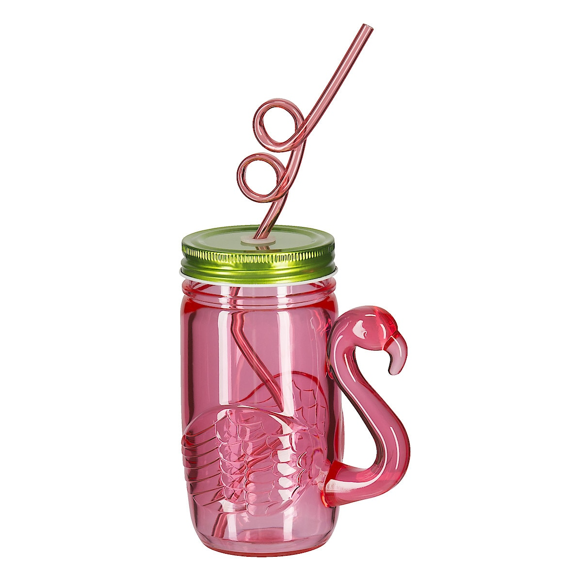 Plastic Cup with Straw and Lid, Flamingo