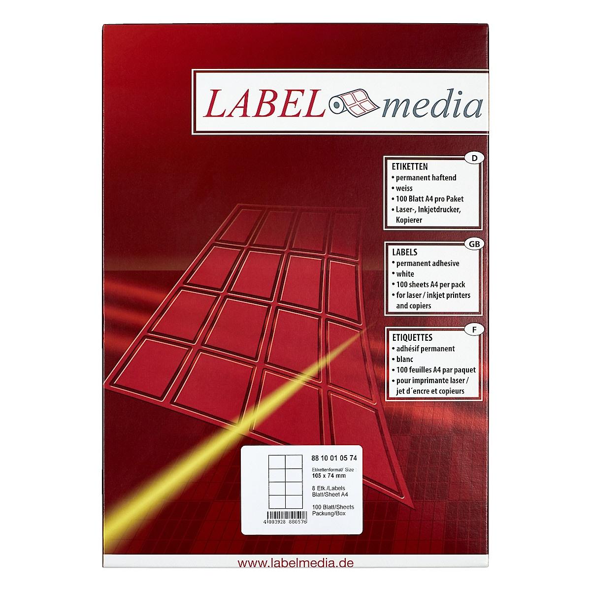 Etiketit 105x74 mm Labelmedia