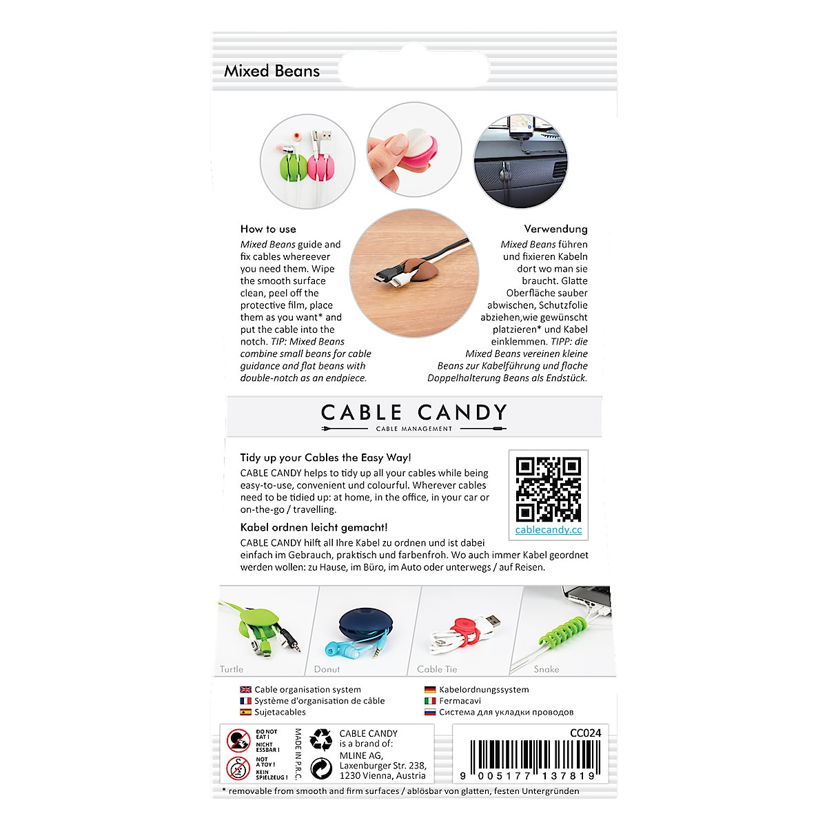 Kaapelikiinnike Cable Candy Mixed Beans 6 kpl