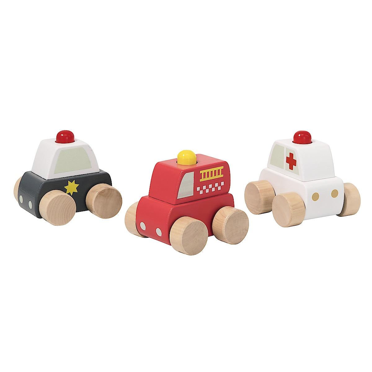 Leksaksbilar i trä 3-pack utryckningsfordon