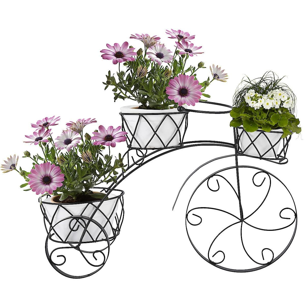 Sykkel med blomsterkrukker