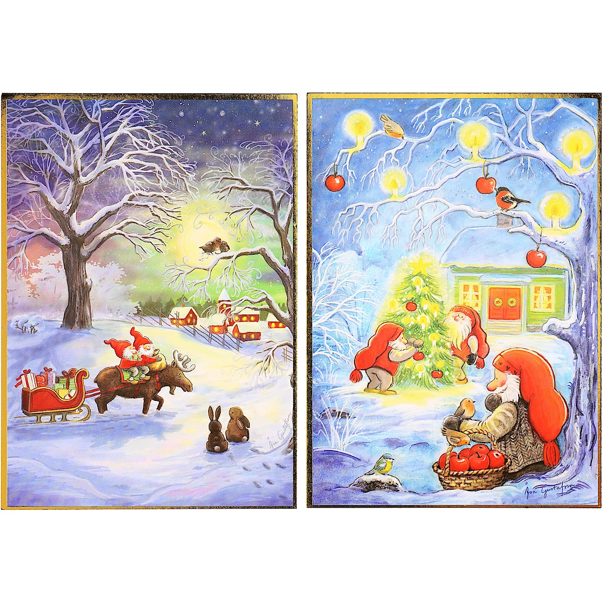 Julkort enkla, 8-pack, 4 motiv