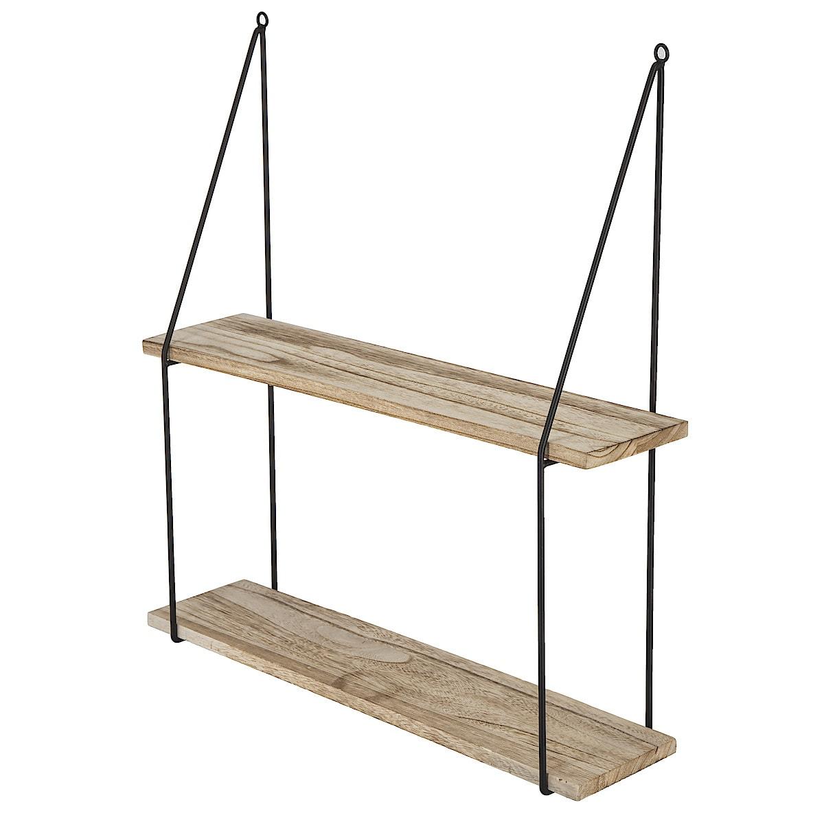 Vägghylla trä/metall