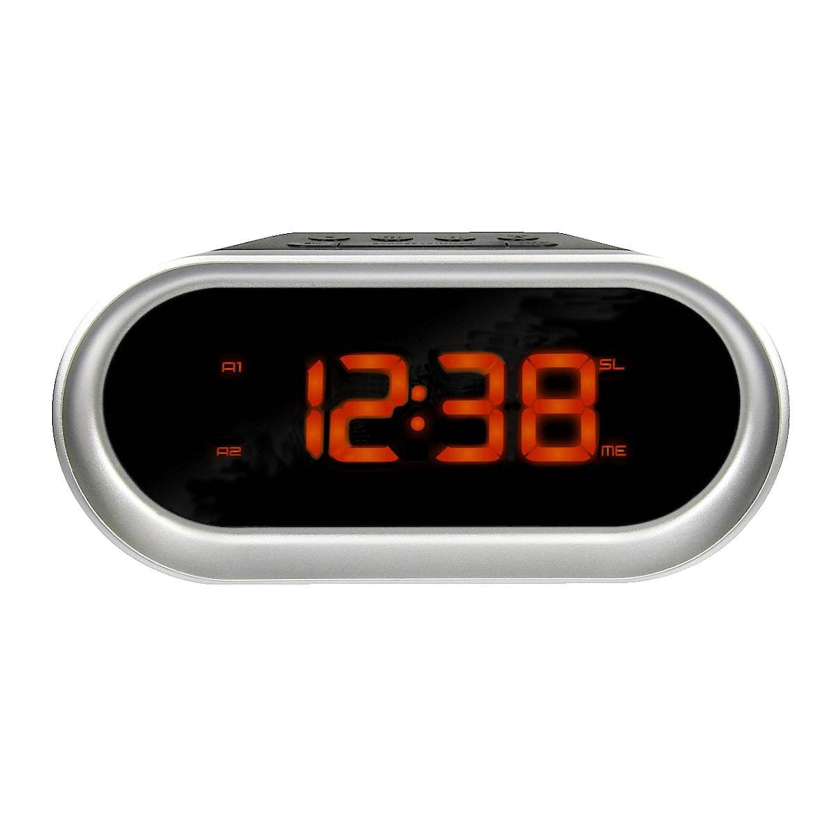 Clock Radio with Dual Alarm, silver