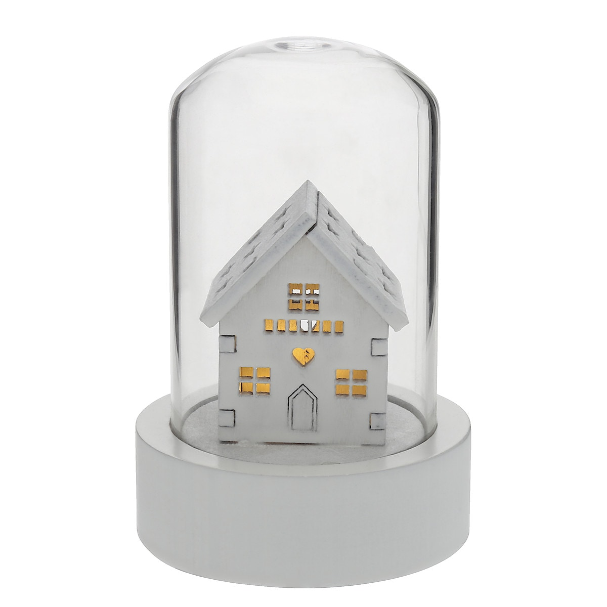 Liten glaskupa med dekoration