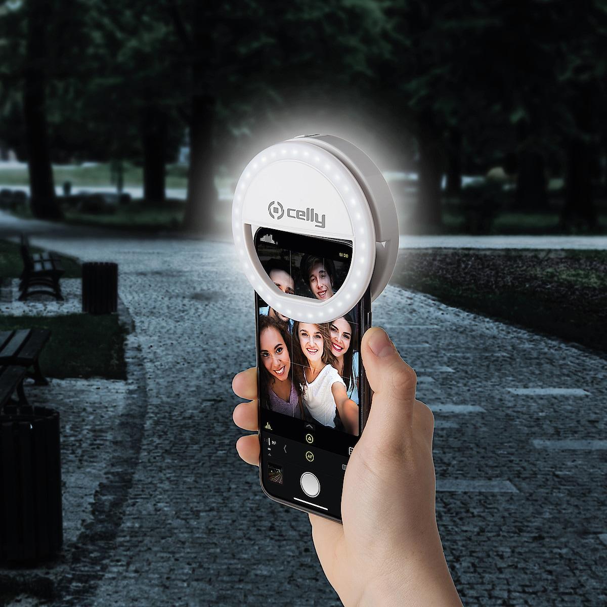 Celly Selfie Flash Light Pro White selfielampe til mobilen