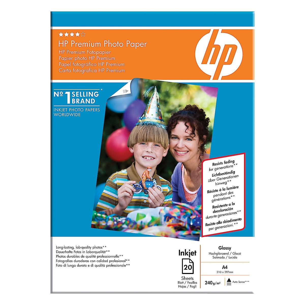 Bläckstrålepapper A4 HP Premium photo paper, Glossy