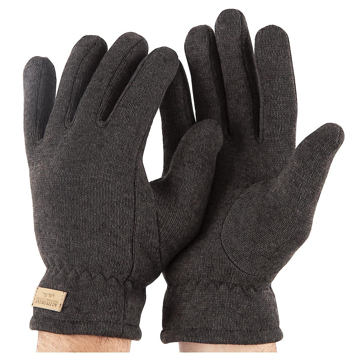 Grey Melange Flat Fleece Gloves
