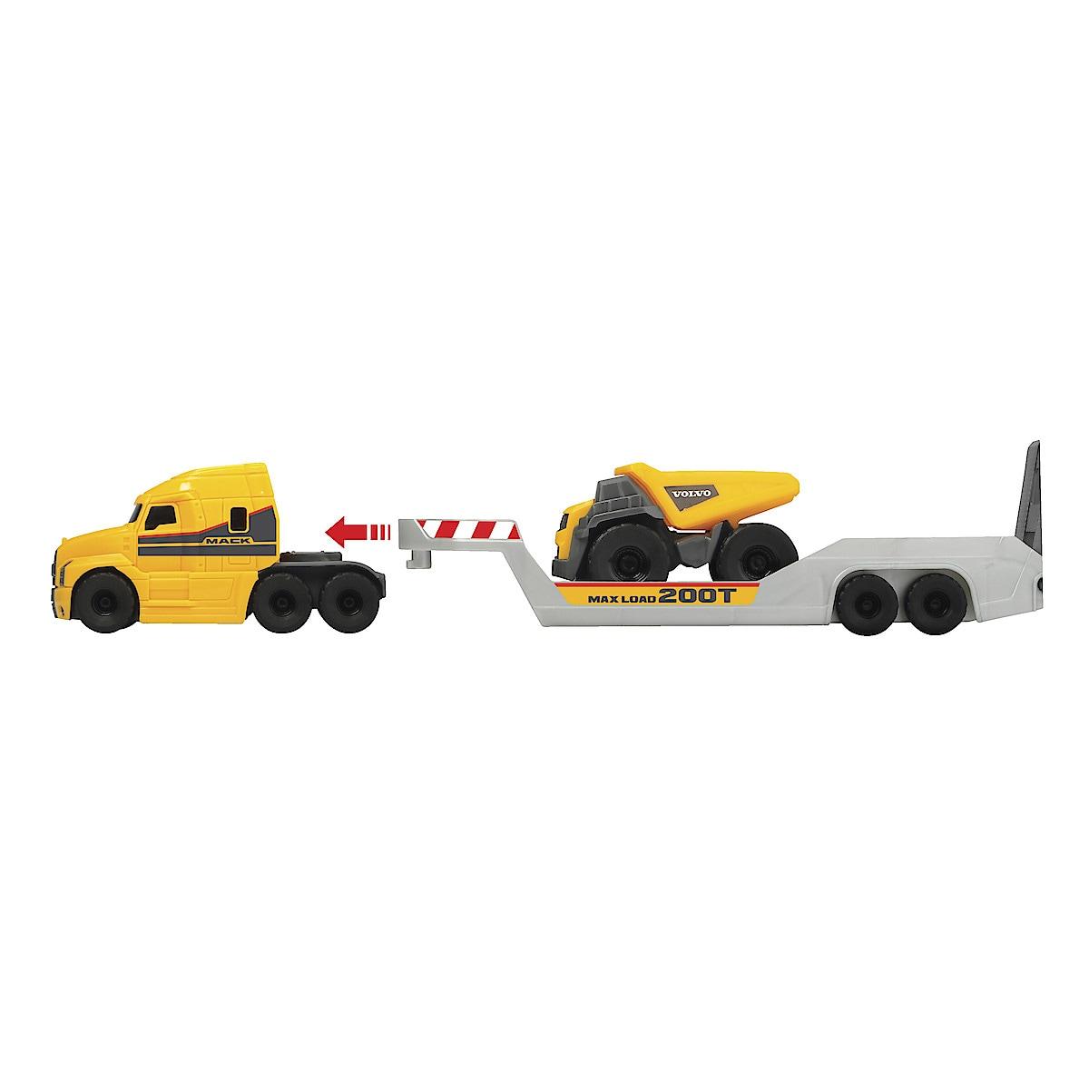 Mack/Volvo Micro Builder trailer med anleggsmaskiner