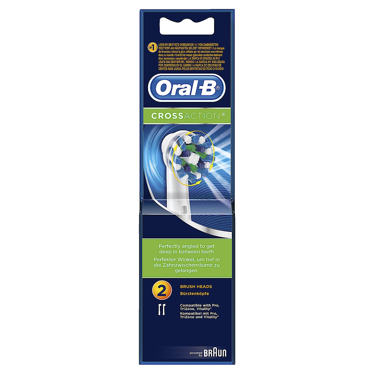 Harjaspää Oral-B Cross Action 2 kpl