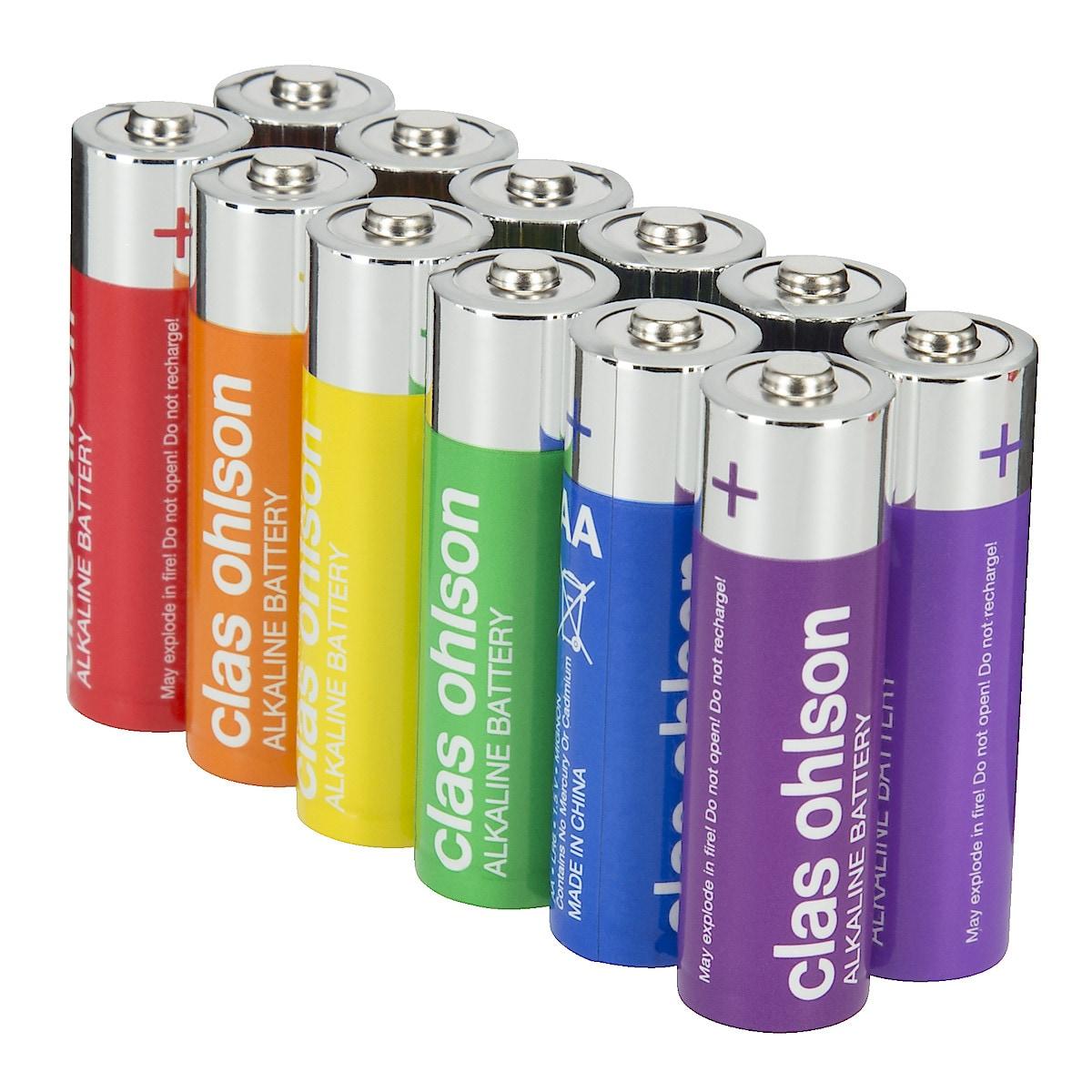 Alkaliska AA/LR6-batterier 12-pack Clas Ohlson