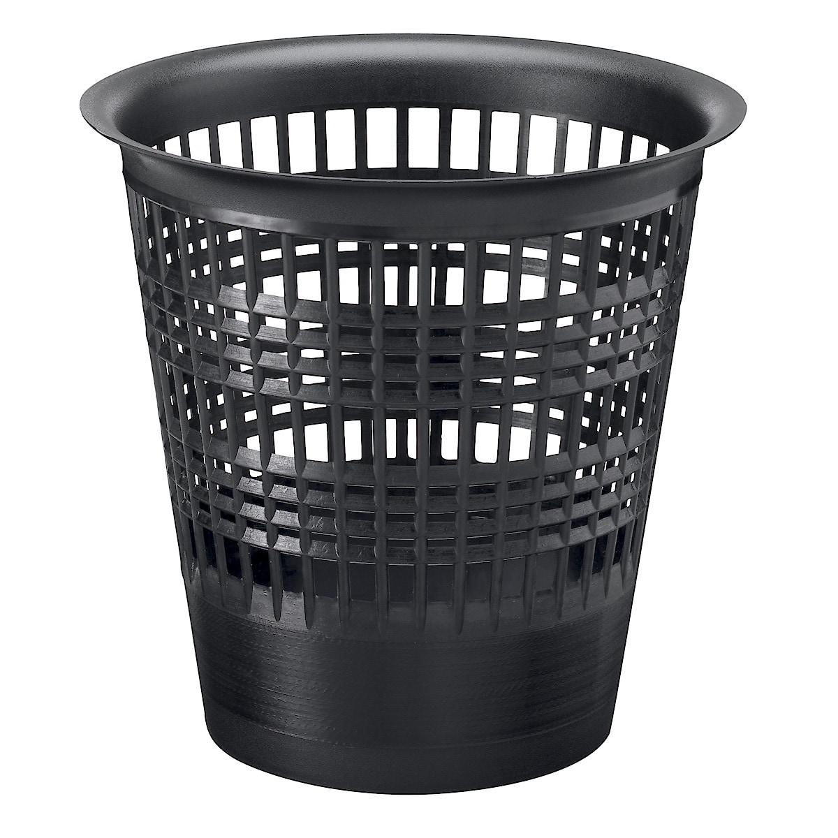 Papperskorg plast, svart