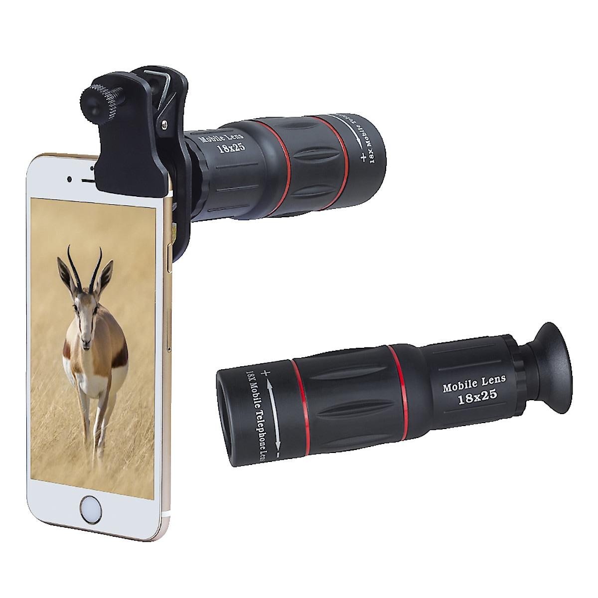 Teleobjektiivi 18x zoom ja tripod-jalusta puhelimelle