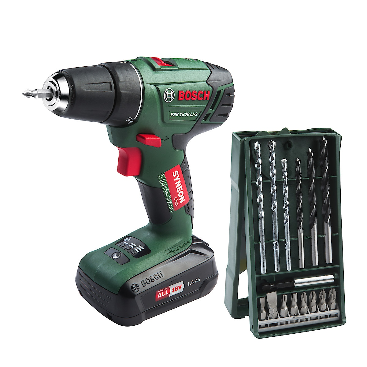 Bosch PSR 1800 LI 2 drill med Step & Workbox | Clas Ohlson