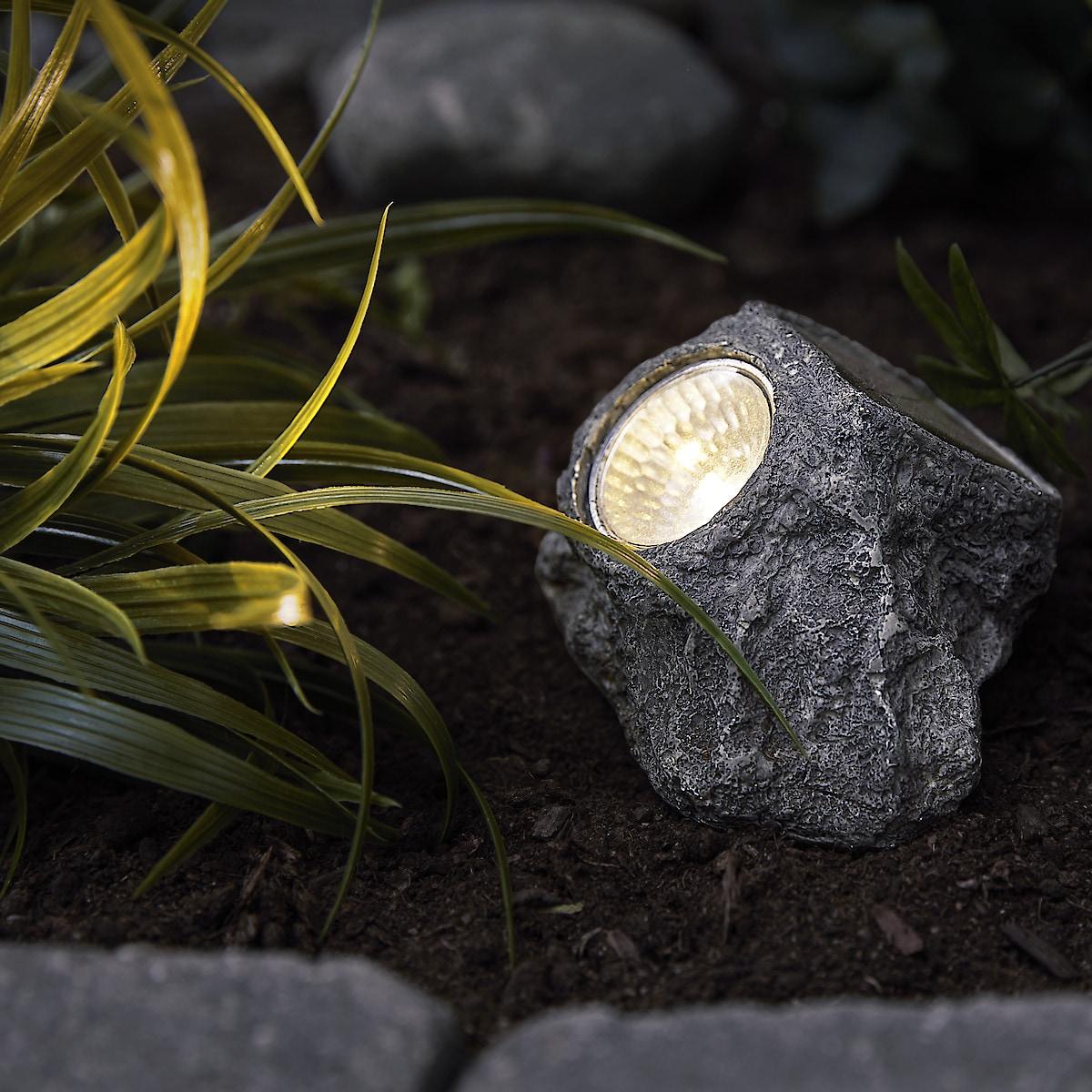 Solcellelykt stein 9,5 cm