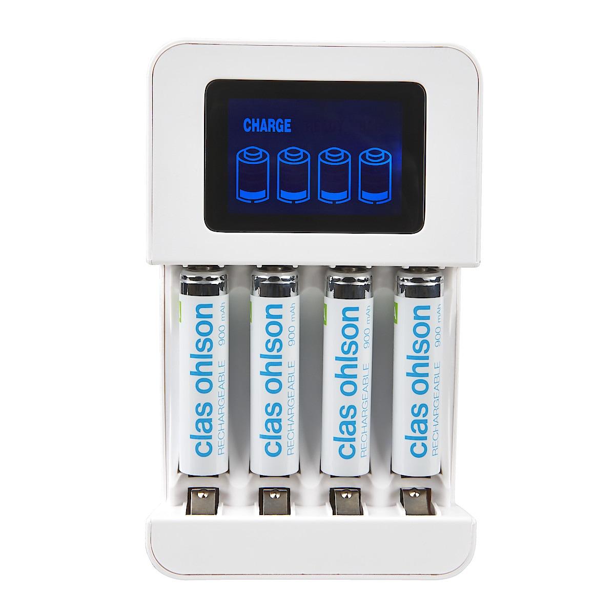 Batteriladdare LCD med 4 x HR03