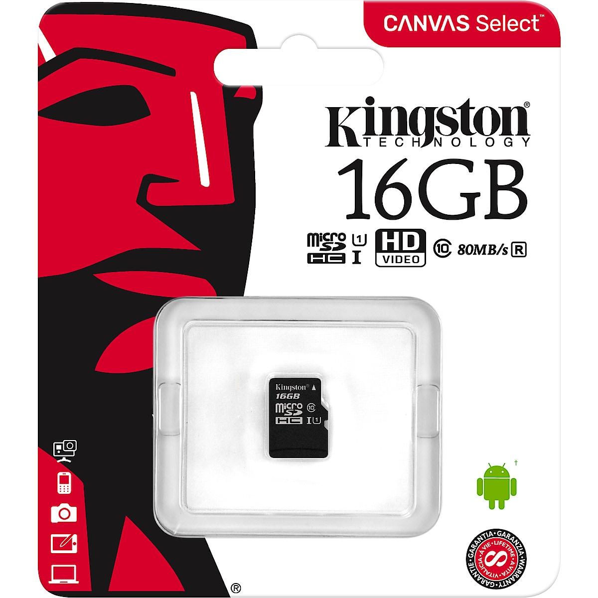 MicroSDHC/SDXC minneskort Klass 10, Kingston