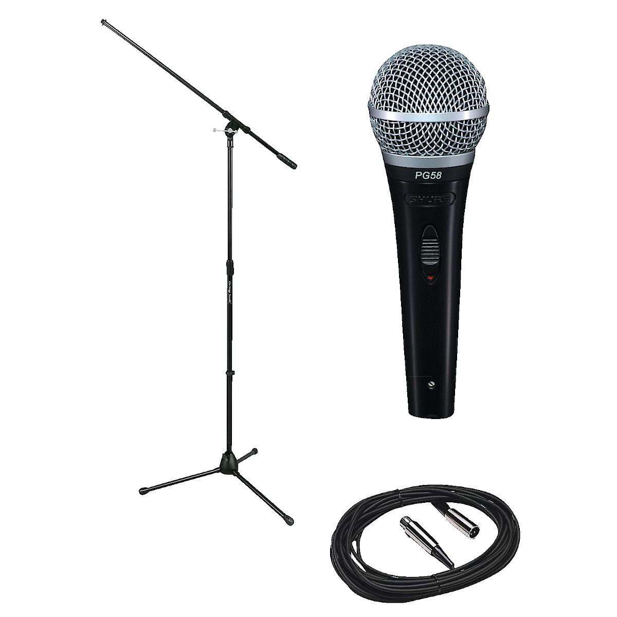 Mikrofon PG58 inkl. stativ och kabel, Shure