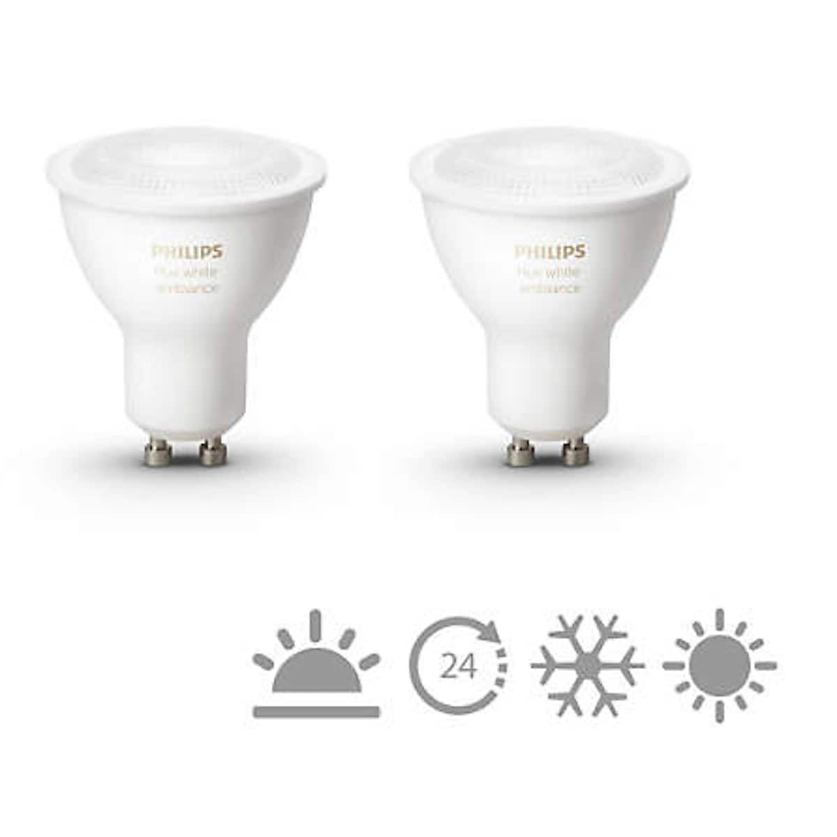 Philips Hue Ambiance LED-lyspære 5,5 W GU10, 2-pack