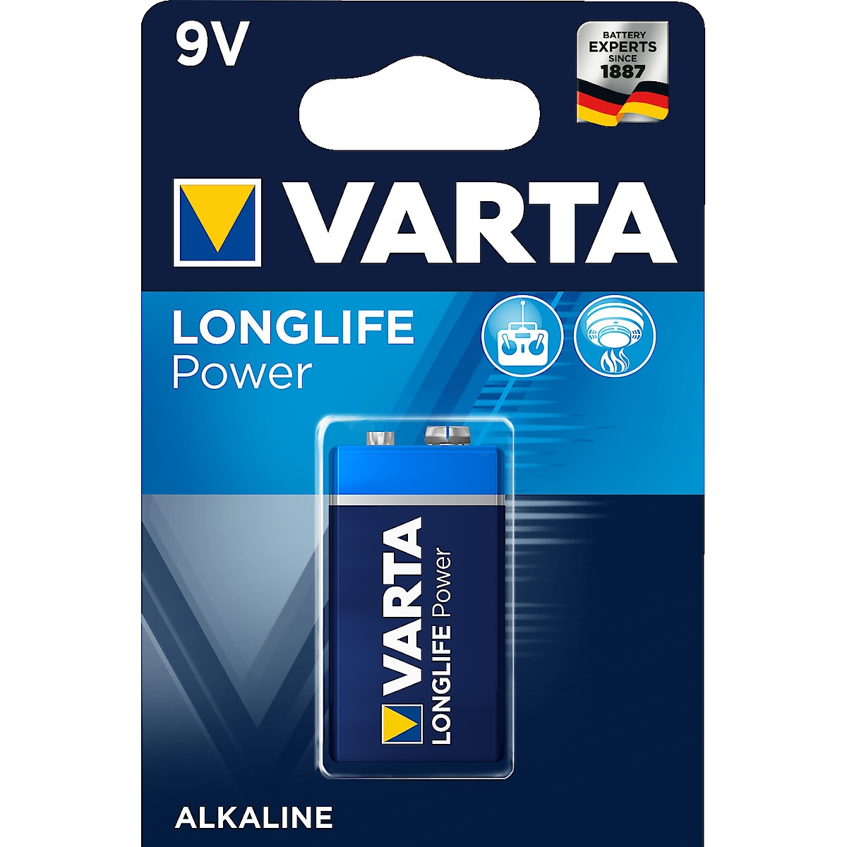 Alkaliparisto 9 V VARTA Longlife Power