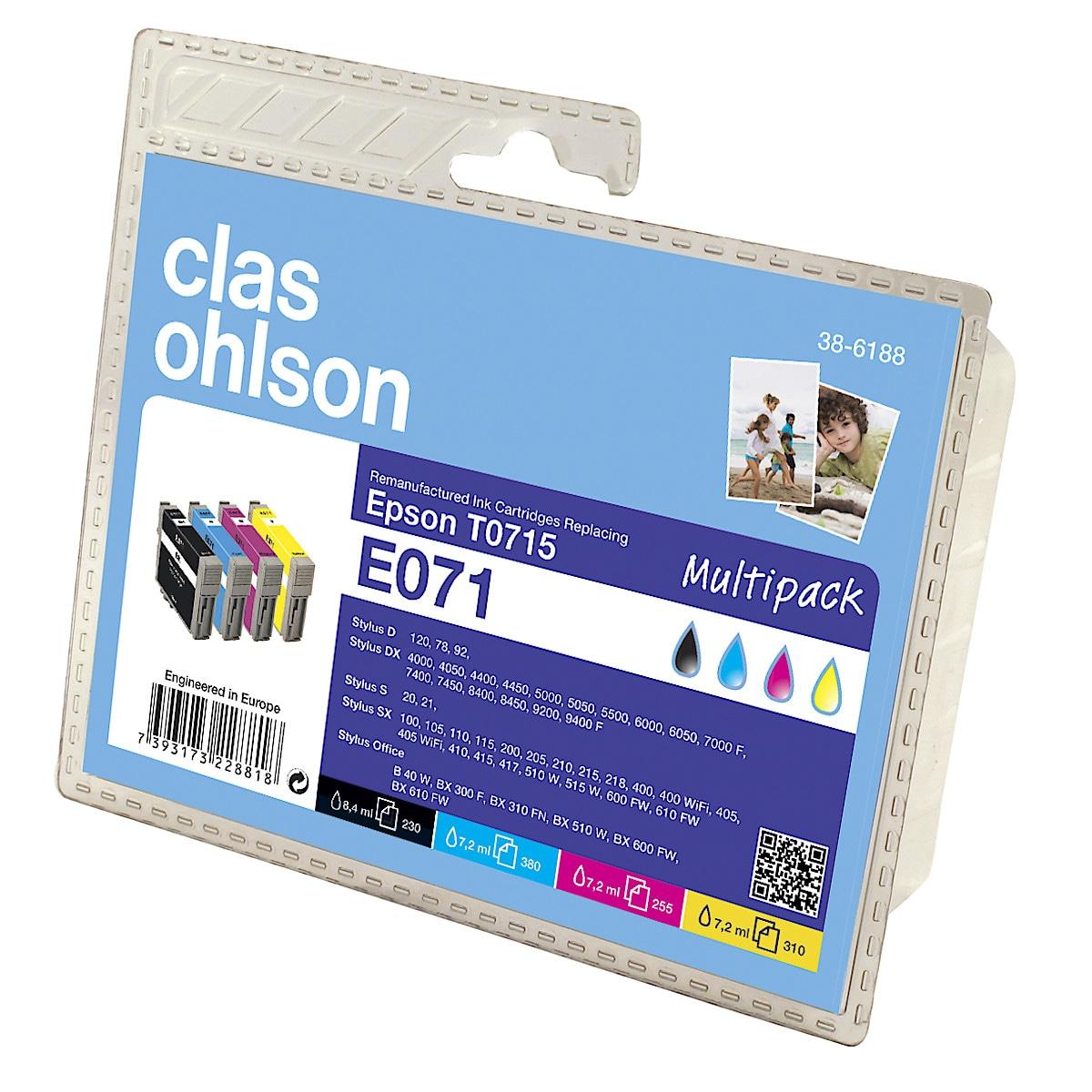 Bläckpatron Epson T0711 till T0715  Clas Ohlson