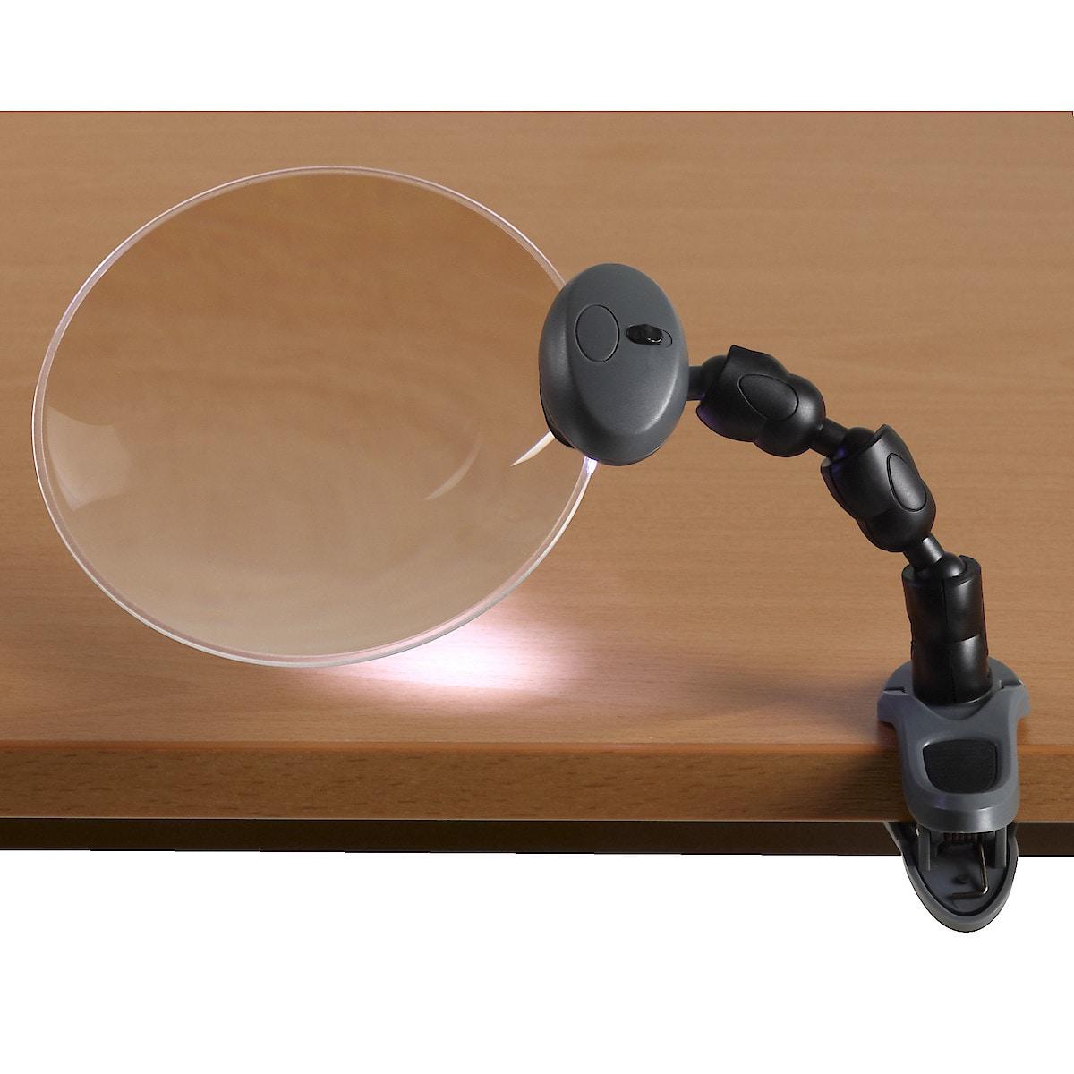 Lupe mit Beleuchtung und Stativ