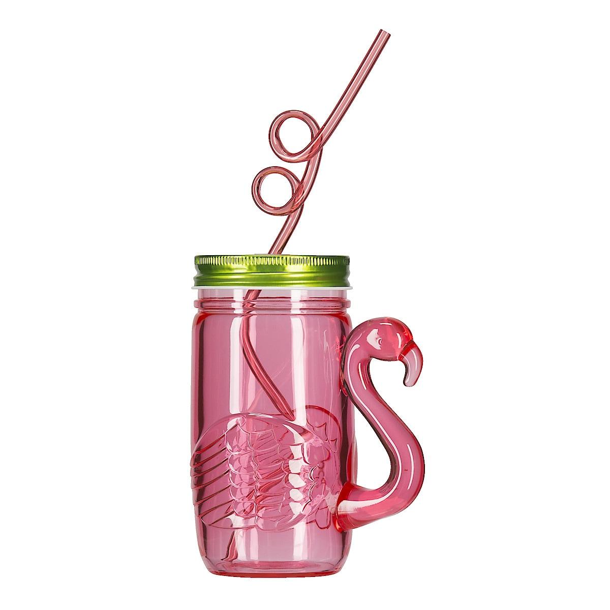 Plastmugg med lock och sugrör Flamingo