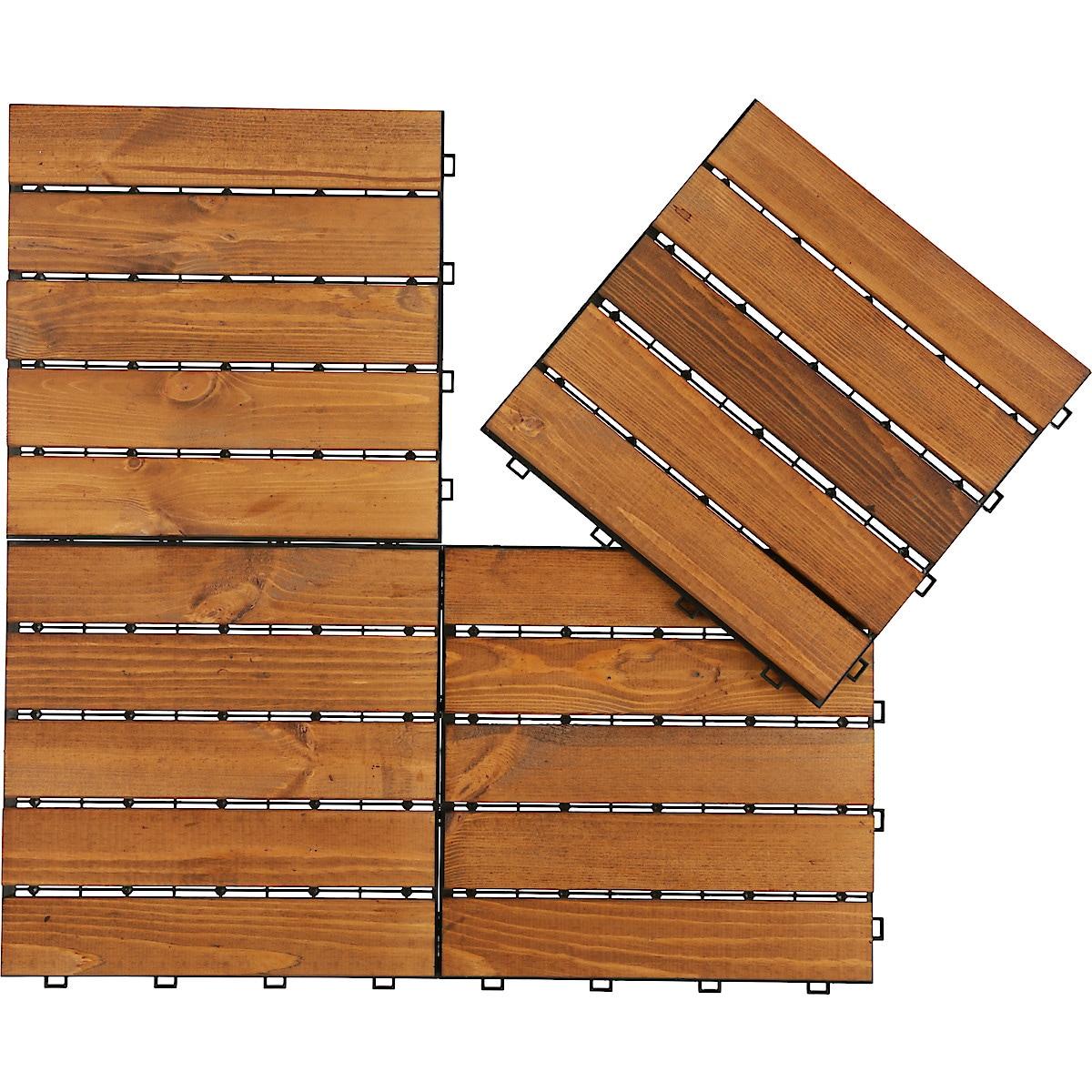Golvplattor trall, brunlaserad furu 4-pack